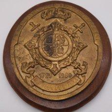 Antigüedades: ANTIGUA METOPA MILITAR DE GRAN CALIDAD DE BRONCE Y MADERA INFANTA CRISTINA.. Lote 93240195