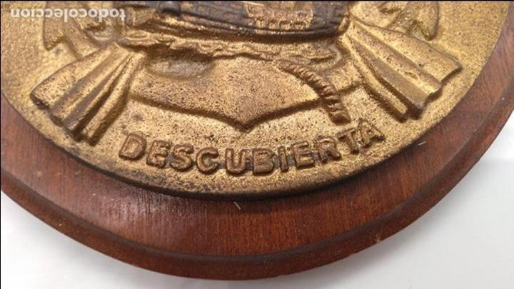 Antigüedades: Antigua metopa militar de gran calidad de bronce y madera DESCUBIERTA. - Foto 3 - 93240355