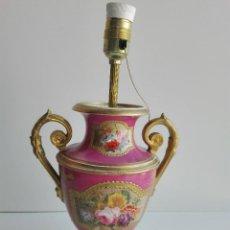 Antigüedades: JARRON DE PORCELANA FRANCESA DEL SIGLO XIX CONVERTIDO EN LAMPARA. Lote 93242805