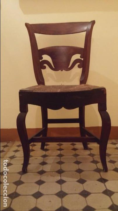 SILLA FERNANDINA MADERA CAOBA (Antigüedades - Muebles Antiguos - Sillas Antiguas)