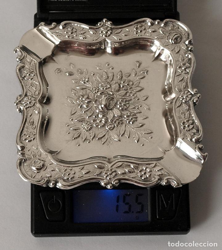 Antigüedades: CENICERO DE PLATA DE LEY CONTRASTADA. 15,5 GRAMOS. 7 X 7 CM. VER FOTOS Y DESCRIPCION - Foto 9 - 93304535