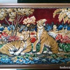 Antigüedades: TAPIZ CON ESCENA DE TIGRES. Lote 93338145