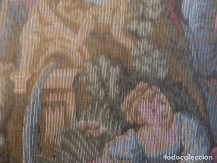 Antigüedades: TRES FINOS TAPICES FRANCESES,MECANICOS, S.XX ROMANTICISMO.MARCO MADERA DORADA 75MM.CON MARIALUISA - Foto 8 - 93354565