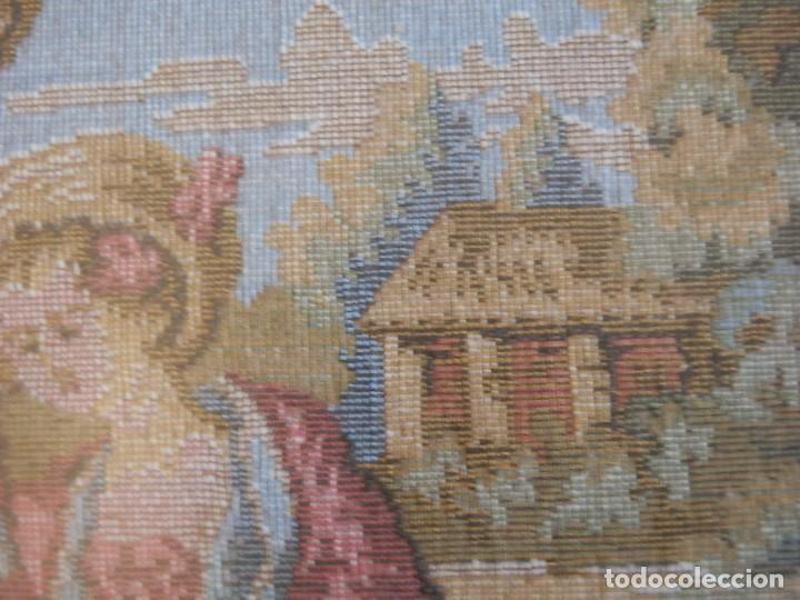 Antigüedades: TRES FINOS TAPICES FRANCESES,MECANICOS, S.XX ROMANTICISMO.MARCO MADERA DORADA 75MM.CON MARIALUISA - Foto 11 - 93354565