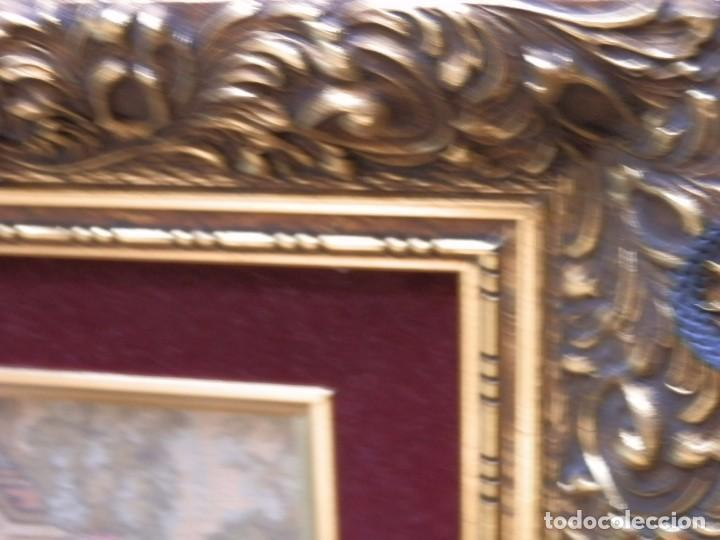 Antigüedades: TRES FINOS TAPICES FRANCESES,MECANICOS, S.XX ROMANTICISMO.MARCO MADERA DORADA 75MM.CON MARIALUISA - Foto 13 - 93354565