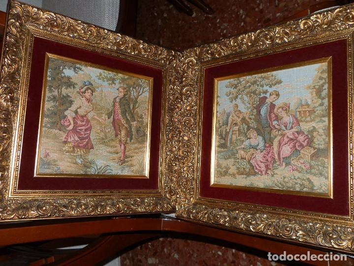 Antigüedades: TRES FINOS TAPICES FRANCESES,MECANICOS, S.XX ROMANTICISMO.MARCO MADERA DORADA 75MM.CON MARIALUISA - Foto 14 - 93354565