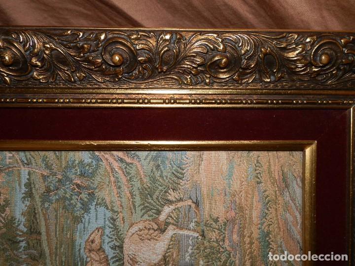 Antigüedades: TRES FINOS TAPICES FRANCESES,MECANICOS, S.XX ROMANTICISMO.MARCO MADERA DORADA 75MM.CON MARIALUISA - Foto 18 - 93354565