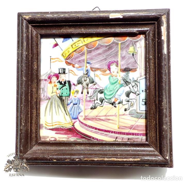 CUADRITO DE AZULEJO FIRMADO 9,5 X 9,5 CM (Antigüedades - Porcelanas y Cerámicas - Azulejos)