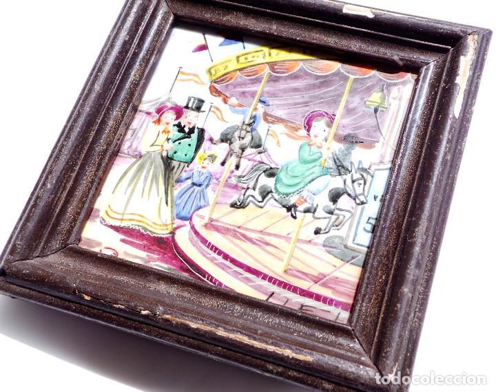 Antigüedades: CUADRITO DE AZULEJO FIRMADO 9,5 X 9,5 CM - Foto 2 - 93367545