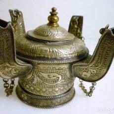 Antigüedades: INCENSARIO O LAMPARILLA DE ACEITE 4 BOCAS EN ALPACA PLATEADA 9X9 X8 CMS DE ALTURA. Lote 93462680