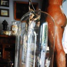Antiquitäten - ANTIGUO FANAL DE CRISTAL CON BASE DE MADERA - 93559080