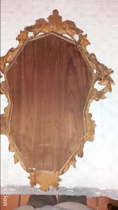 Antigüedades: Antigua Cornucopia - Espejo - Isabelino - Talla Madera - Dorada con pan de Oro - S. XIX - Foto 7 - 46916351