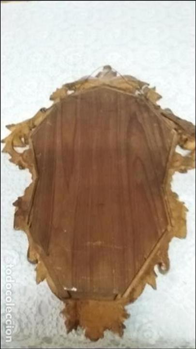 Antigüedades: Antigua Cornucopia - Espejo - Isabelino - Talla Madera - Dorada con pan de Oro - S. XIX - Foto 8 - 46916351