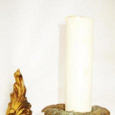 Antigüedades: RESTAURADA, PEQUEÑA LAMPARA ANTIGUA 1920 DE PARED APLIQUE BRONCE AL ORO CON CADENILLA. Lote 93588920