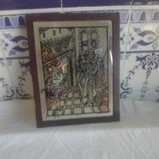 Antigüedades: BONITO CUADRO DE CRISTAL. Lote 93598343