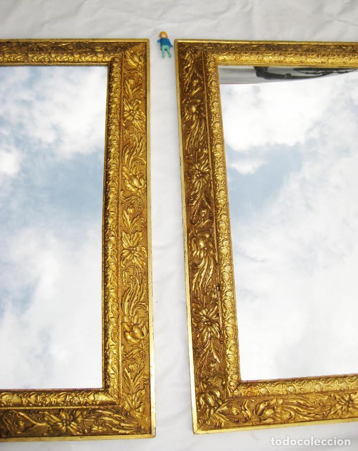 2 marcos espejo antiguo madera dorada al oro ci comprar - Pintura dorada para madera ...