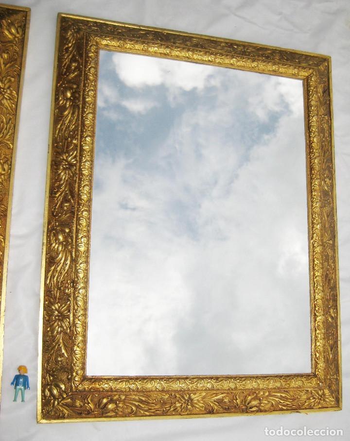 2 marcos espejo antiguo madera dorada al oro ci - Comprar Espejos ...
