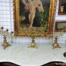 Antigüedades: IMPRESIONANTE LOTE DE 3 CANDELABROS DE BRONCE DE ORO Y MERCURIO SIGLO XIX . Lote 93625175