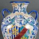 Antigüedades: ANFORA JARRA TRIANA LOS REMEDIOS DECORADA ESCUDO DUCAL A QUISPE HACIA 1910. Lote 93680440