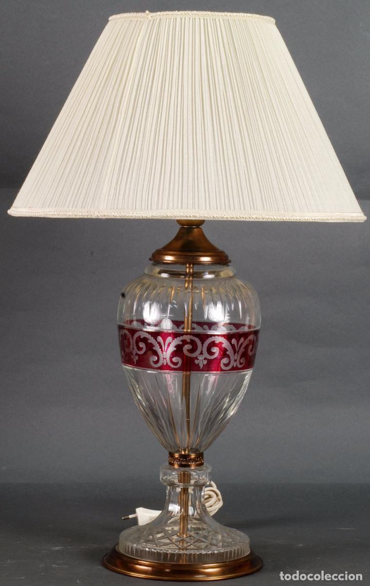 LÁMPARA SOBREMESA CRISTAL BOHEMIA TALLADO Y BRONCE SIGLO XX (Antigüedades - Iluminación - Lámparas Antiguas)