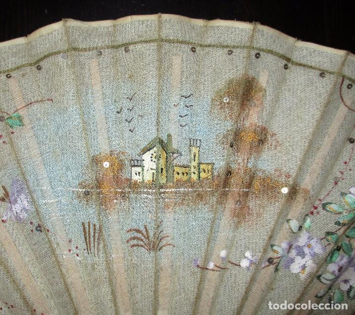 Antigüedades: ABANICO EN MARFIL O HUESO PINTADO A MANO. INICIOS DEL SIGLO XX. - Foto 4 - 93688670