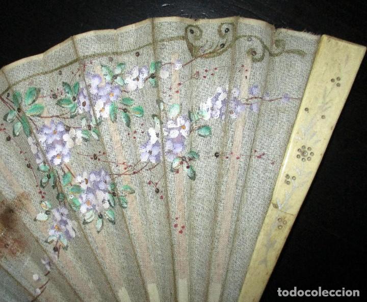 Antigüedades: ABANICO EN MARFIL O HUESO PINTADO A MANO. INICIOS DEL SIGLO XX. - Foto 5 - 93688670