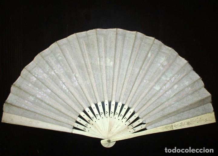 Antigüedades: ABANICO EN MARFIL O HUESO PINTADO A MANO. INICIOS DEL SIGLO XX. - Foto 6 - 93688670