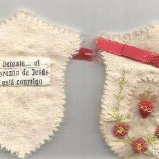 Antigüedades: ANTIGUO DETENTE NIÑO NIÑA SAGRADO CORAZÓN JESÚS ESTÁ CONMIGO SEDA Y FIELTRO BORDADO. Lote 54006880