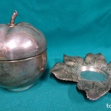 Antiquités: PRECIOSO CENTRO DE MESA, MANZANA, ALPACA?. Lote 93800175