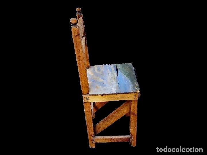 Antigüedades: antigua silla aragonesa, Asiento con paisaje pintado , rozada. - Foto 2 - 39698340