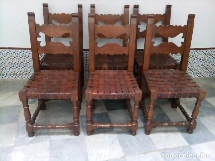 6 SILLAS ANTIGUAS, TIPO CASTELLANO CON ASIENTOS DE CUERO, VER FOTOS (Antigüedades - Muebles Antiguos - Sillas Antiguas)