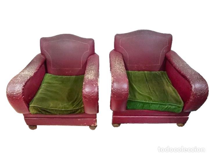 Antigüedades: Espectacular pareja de sillones -sillas-butacas-burdeos. Muy cómodos. - Foto 2 - 83019160