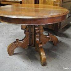 Antiquitäten - Antigua mesa redonda, ditada, madera maciza nogal. Extensible. 280 cm de largo. - 93859270