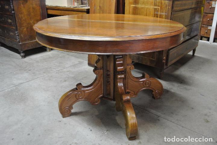 antigedades antigua mesa redonda ditada madera maciza nogal extensible cm