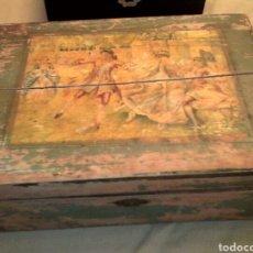 Antigüedades: CAJA DE MADERA .. PINTADA. Lote 93869280