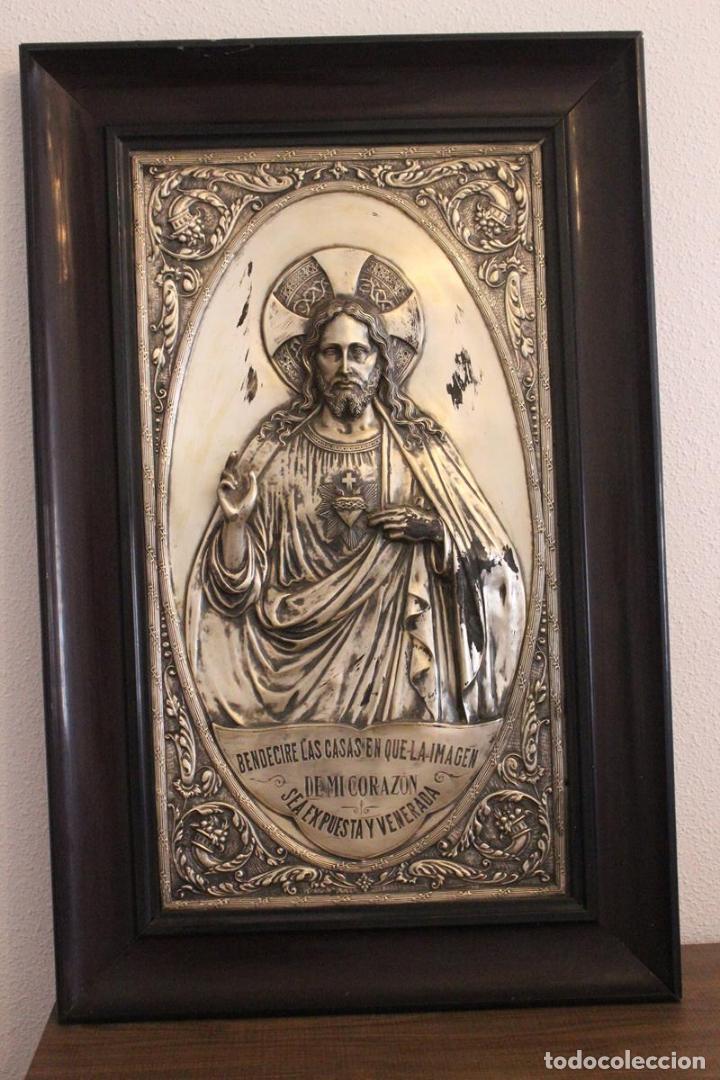 gran sagrado corazón en relieve-metal plateado - Comprar Orfebrería ...