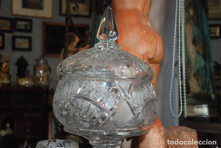 Antigüedades: ESPECTACULAR PONCHERA ALTA DE CRISTAL TALLADO - Foto 3 - 93916410