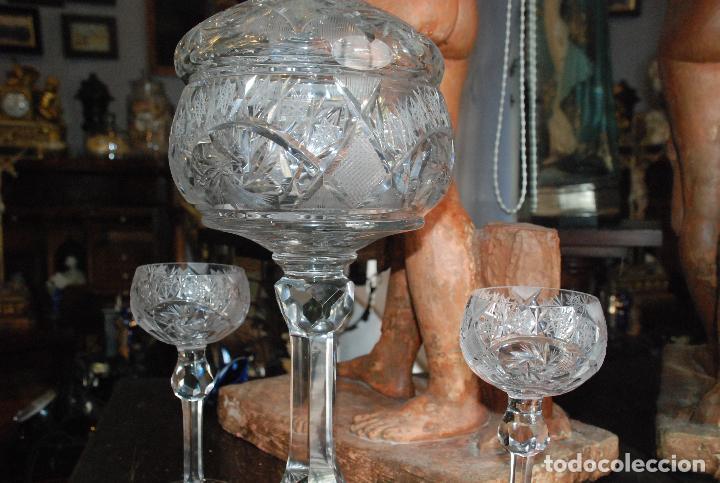 Antigüedades: ESPECTACULAR PONCHERA ALTA DE CRISTAL TALLADO - Foto 4 - 93916410