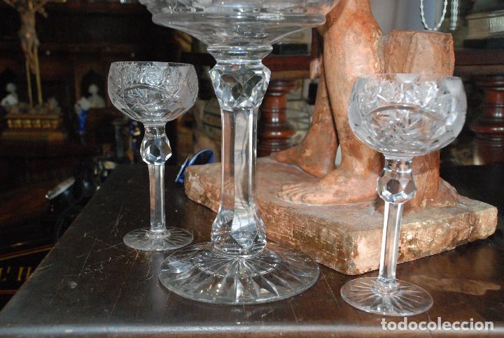 Antigüedades: ESPECTACULAR PONCHERA ALTA DE CRISTAL TALLADO - Foto 5 - 93916410