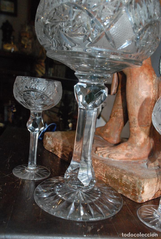 Antigüedades: ESPECTACULAR PONCHERA ALTA DE CRISTAL TALLADO - Foto 9 - 93916410