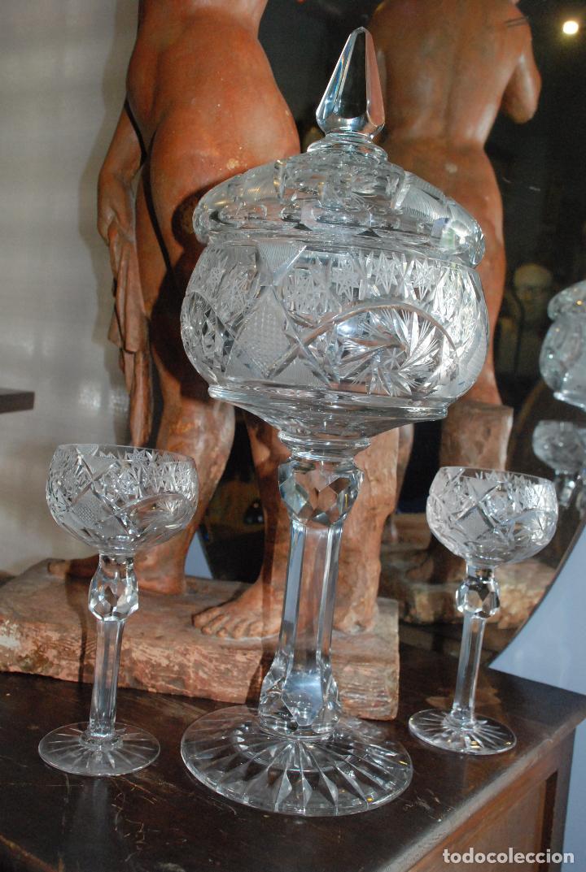 Antigüedades: ESPECTACULAR PONCHERA ALTA DE CRISTAL TALLADO - Foto 14 - 93916410
