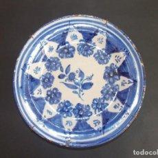 Antigüedades: PLATO ANTIGUO DE CERÁMICA LOZA MANISES ESPAÑOL. Lote 93925690