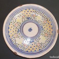 Antigüedades: PLATO ANTIGUO DE CERÁMICA LOZA MANISES RIBESALBES ESPAÑOL. Lote 93925990