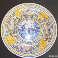 Antigüedades: PLATO ANTIGUO DE CERÁMICA LOZA MANISES RIBESALBES ESPAÑOL. Lote 93926290