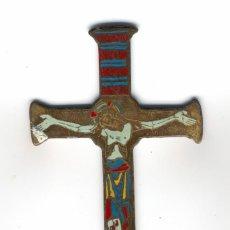 Antigüedades: ANTIGUA CRUZ CON IMAGEN DE CRISTO EN METAL ESMALTADO. Lote 93956070