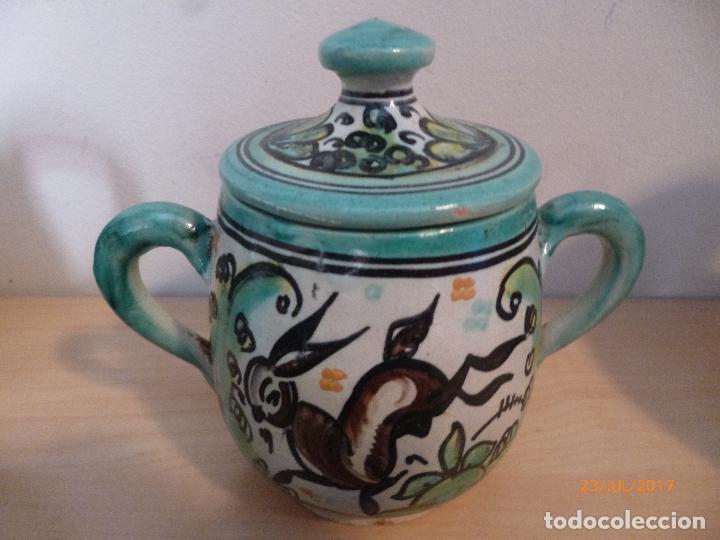 Antigüedades: Juego de café Puente del Arzobispo. 15 piezas taller La Purisima mas 1 jarra de agua independiente. - Foto 8 - 93963385