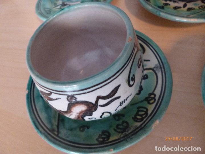 Antigüedades: Juego de café Puente del Arzobispo. 15 piezas taller La Purisima mas 1 jarra de agua independiente. - Foto 9 - 93963385
