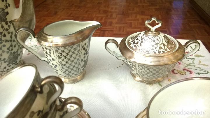 Antigüedades: JUEGO ANTIGUO DE CAFÉ DE PORCELANA Y PLATA BAVARIA - Foto 8 - 93970335