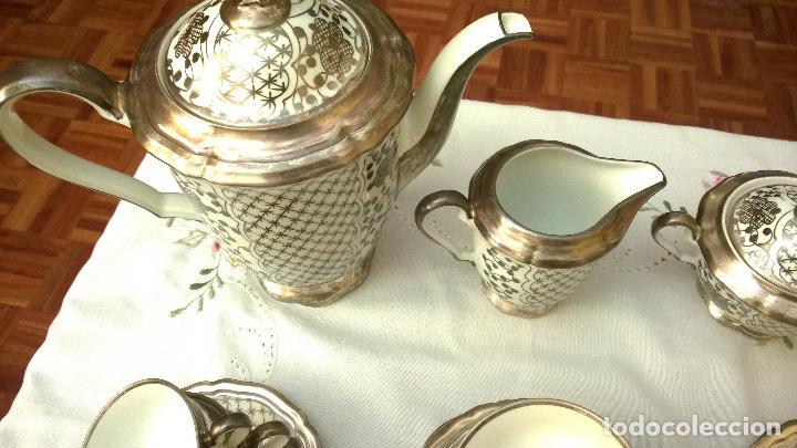Antigüedades: JUEGO ANTIGUO DE CAFÉ DE PORCELANA Y PLATA BAVARIA - Foto 9 - 93970335
