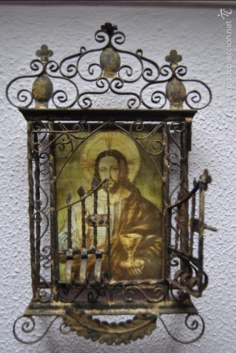 Antigüedades: CAPILLA O URNA DE PARED ANTIGUA - Foto 8 - 56754178